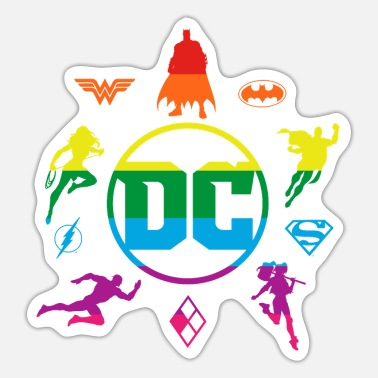 Justice League DC Superheroes Rainbow Logos - Sticker