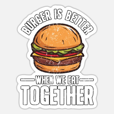 Fast Food Lustig Fast Food Burger Hamburger Cheeseburger - Sticker