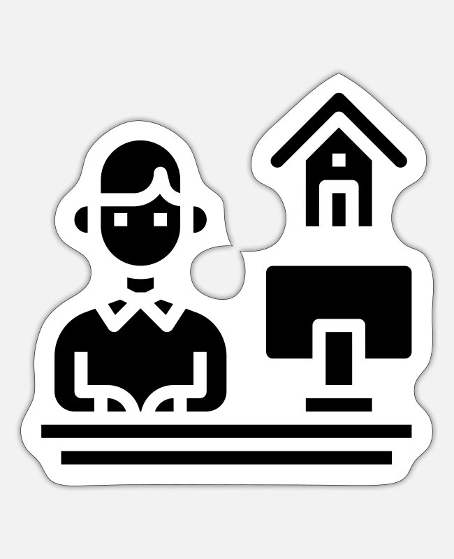 Office Stickers - Home office - Sticker white mat
