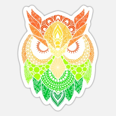 Raider Mandala Owl Eagle Owl Tribal Birds Tattoo Gift - Sticker
