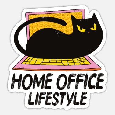 Home office lifestyle cat home office - Sticker