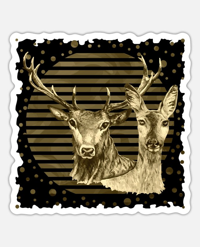 Stag Stickers - Deer and doe - Sticker white mat