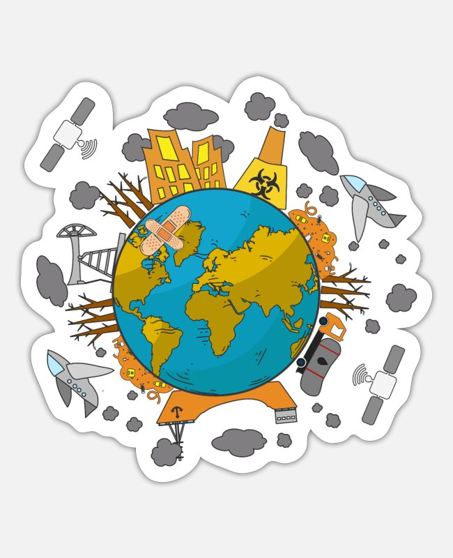Nature Stickers - Pollution for environmentalists - Sticker white mat