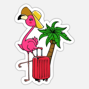 Caribbean Travel vacation vacation flamingo palm trees Caribbean - Sticker