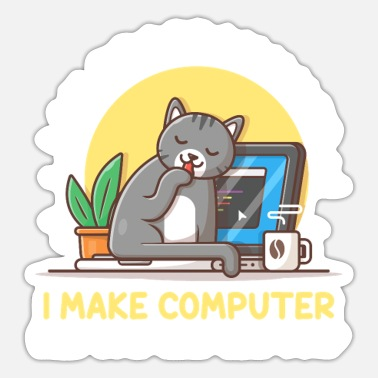 Gift Cat Programmer Coder Developer Kitten Computer - Sticker
