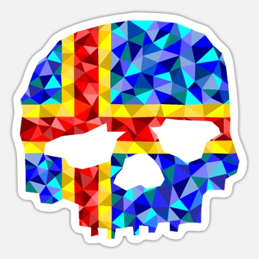 Skull Aland low poly style - Sticker