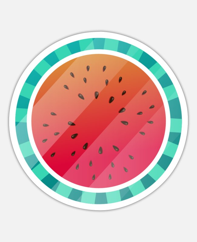 Circular Stickers - Melon fruit - Sticker white matte