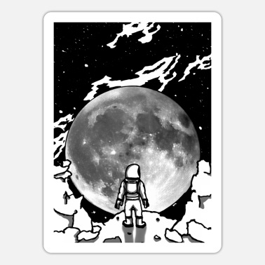 Black White Galaxey Astronaut Moon Man ivor full moon in black and white - Sticker