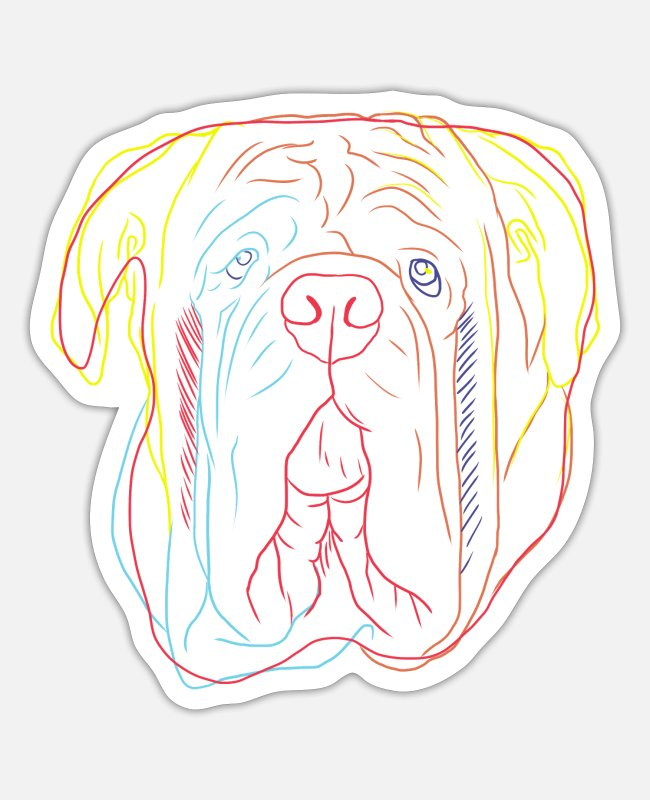 Dog Owner Stickers - Colorful Neapolitan Mastiff Dog - Sticker white matte