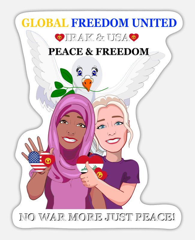 Irak Stickers - Global Arab Women Iraq u USA New Verse - Sticker white matte