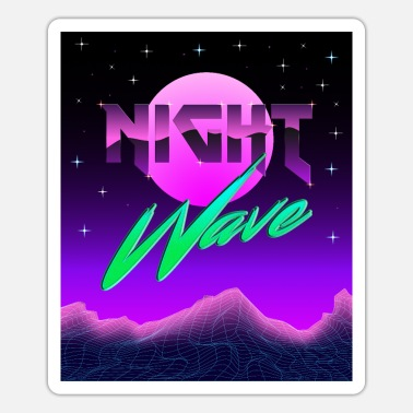 80er Jahre Synthwave Night 80s Retro Outrun Sterne Electro - Sticker