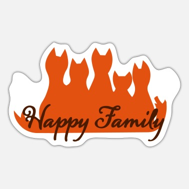 Famile Happy Family Fuchsfamilie fox family famille - Sticker