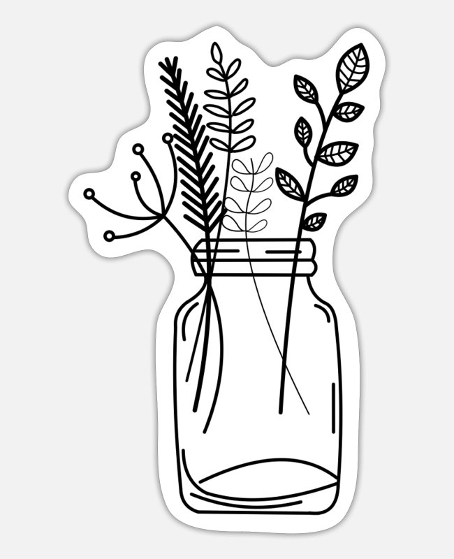 Garden Stickers - Plants nature glass bouquet - Sticker white matte