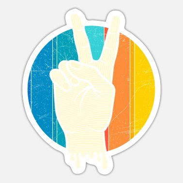Victory Retro Vintage Peace Victory Sign Peace Symbol - Sticker