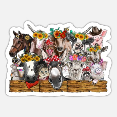 Farm Animal Watercolor Farm Animals - Sticker