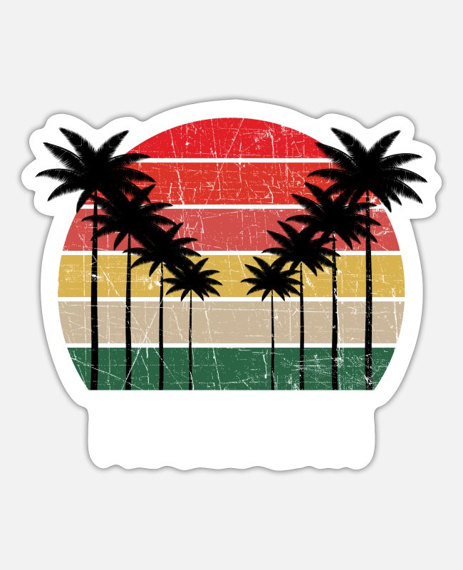 Feuerstein Sticker - Palm Tree Distressed Michigan - Beach Design - Sticker Mattweiß