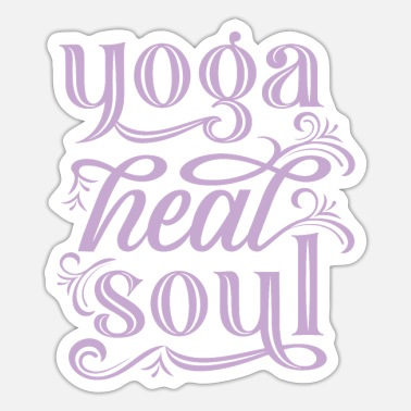 Geneest typografie in het Engels - Yoga Heals the Soul - Sticker