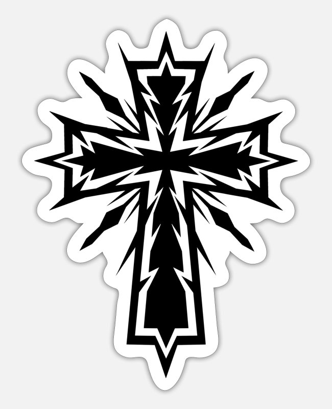 Church Stickers - Electric Cross - Sticker white matte