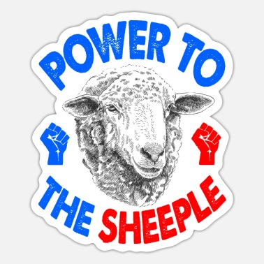 Power To The Sheeple Power Cute Fluffy Sheep Fun G - Pegatina