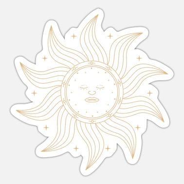Sun Ornament sun with sleeping face - Sticker