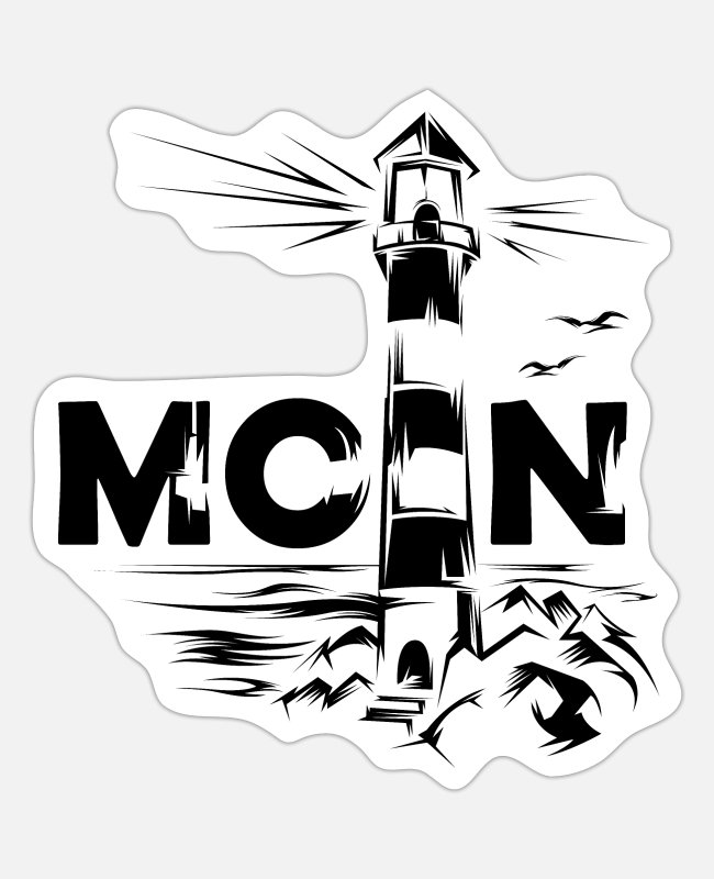See Sticker - moin ostsee leuchtturm lighthouse symbol - Sticker Mattweiß