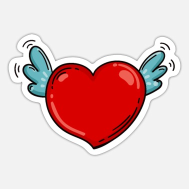 Wings Wedding Romance Heart with wings Love love Valentine's Day - Sticker