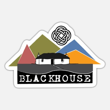 Thatched Cottage Blackhouse in hills - Sticker