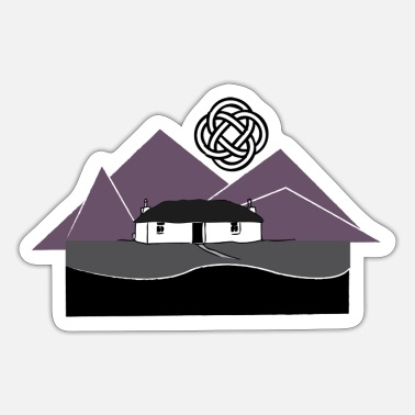 Thatched Cottage Blackhouse with mountains - Sticker