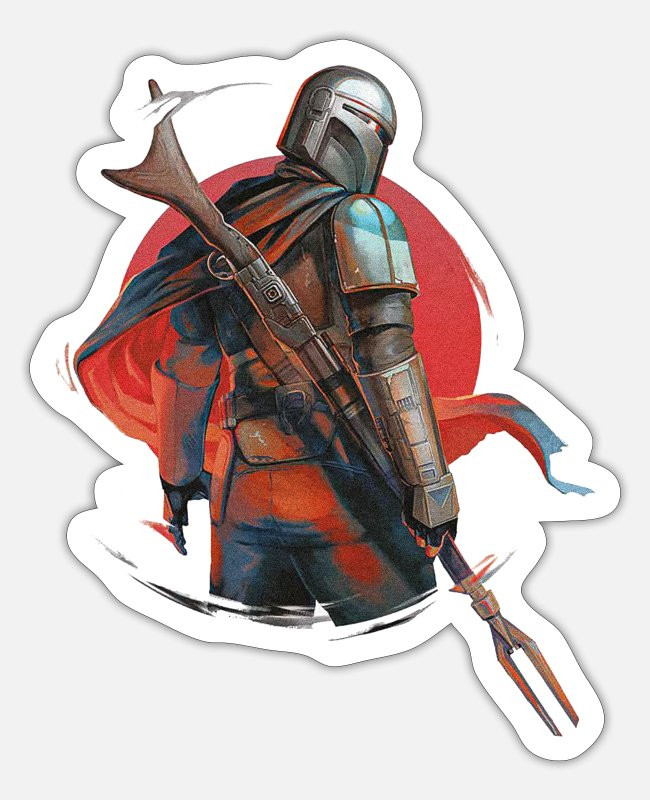 Warrior Stickers - De Mandalorian - Sticker mat wit