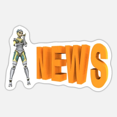 Tattle Humanoid robot with the word news - Sticker