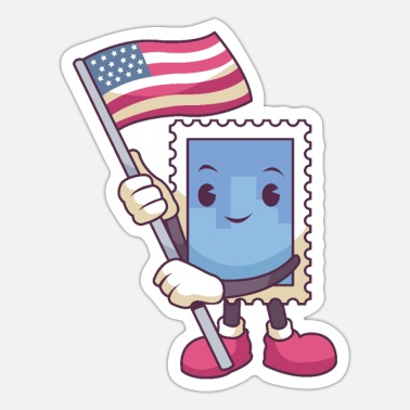 Postage Postage Stamp Waving a Flag - Sticker