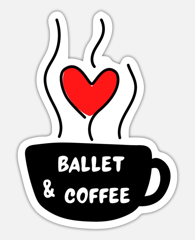 Greengoat Sticker - Ballett & Kaffee - Sticker Mattweiß