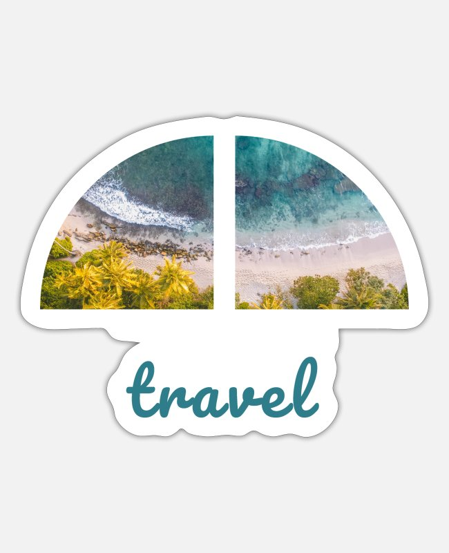 Travel Bug Stickers - Green South Sea Beach Travel / travel motif - Sticker white matte