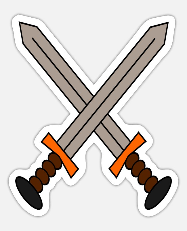 Knight's Cross Stickers - A logo of 2 swords crossed in a gamer style. - Sticker white matte