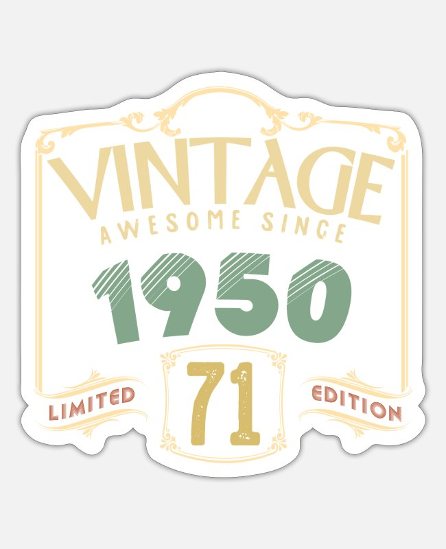 1950 Stickers - Vintage Awesome sinds 1950 - Sticker mat wit