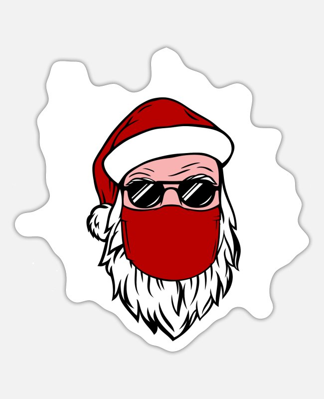 Quote Stickers - Santa In A Mask Christmas 2020 - Sticker white matte