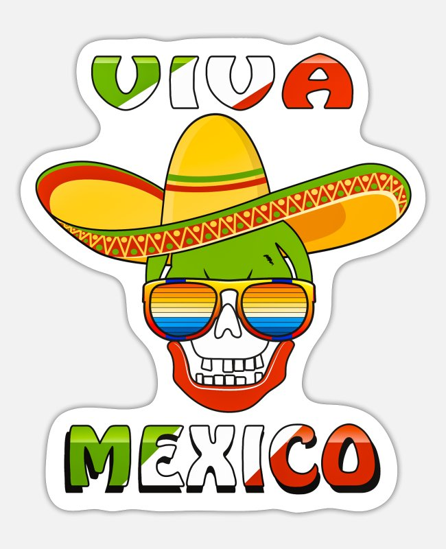 USA Sticker - VIVA MEXICO TOTENKOPF BRILLE - Sticker Mattweiß