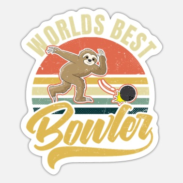 Gawkclothing Retro Bowling Vintage Faultier Geschenk - Sticker