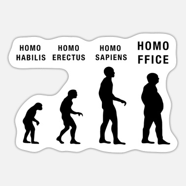 Home Office Man Home Office Home Office Sapiens Evolution Office Humor - Sticker