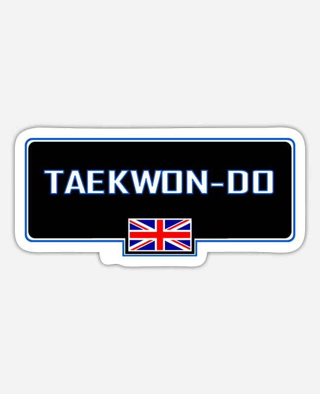 MMA Stickers - MATS129 Taekwon do GB Flag - Sticker mat hvid