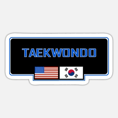 Tae Kwon Do MATS121 Taekwondo with US and Korean flag - Sticker