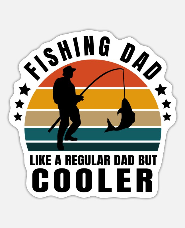 Father's Day Stickers - Fishing dad - Sticker white matte