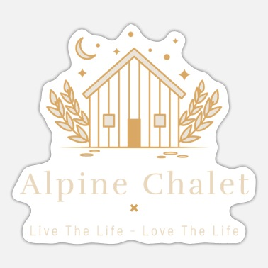 Alpine Club Alpine Chalet, Log Cabin, Skier, Snowboarder Vacay - Sticker