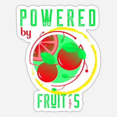 Fruit Fan Powered by fruits Vegetarian Vegan Fruit Fan - Sticker