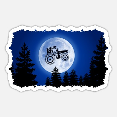 Cowshed tractor mond tractors dependent farm moon - Sticker