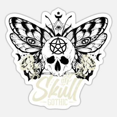 Skull And Bones Night Flowers Gothik Goth Skull Death Skull Punk - Sticker