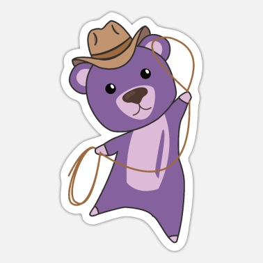 Cowboys Cowboy Bear Bear Teddy Bear Western Purple - Sticker
