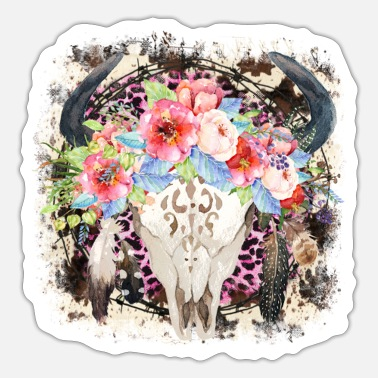 Cow Skull Flower and Cow Skull - Sticker