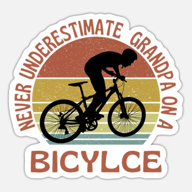 Old Man On A Bicycle Grandpa Cycling - Sticker