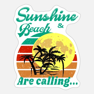 Sunset and beach are calling- Sunset and moonlight - Sticker